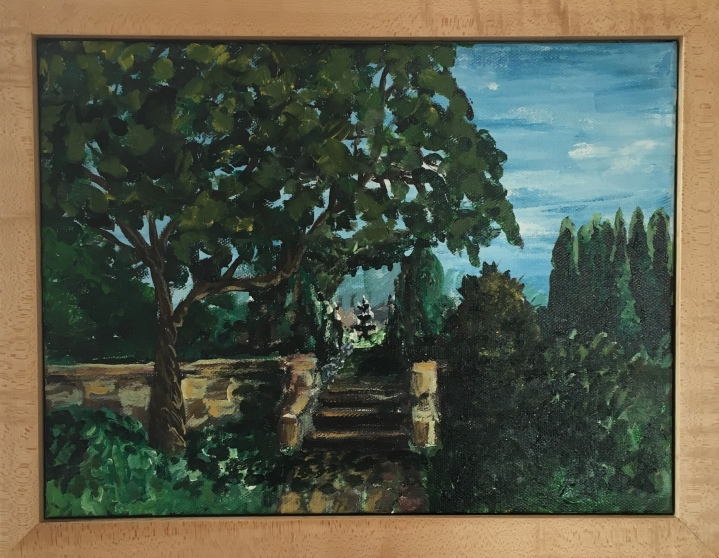 plein air painting of the paine art center gardens